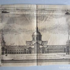 Arte: 1707-VISTA DEL MONASTERIO ESCORIAL MADRID.DELICES ESPAÑA.GRABADO ORIGINAL JUAN ALVAREZ COLMENAR. Lote 66157682