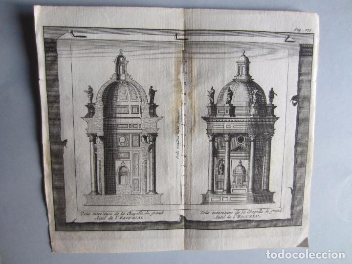 1707-2 VISTAS ALTAR MONASTERIO ESCORIAL MADRID.DELICES ESPAÑA.GRABADO ORIGINAL JUAN ALVAREZ COLMENAR (Arte - Grabados - Antiguos hasta el siglo XVIII)