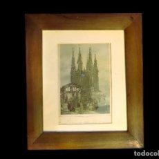 Arte: ANTIGUO GRABADO DE LA CATEDRAL DE BURGOS COLOREADO.ESPECIAL.MARCO DE NOGAL. Lote 67039258