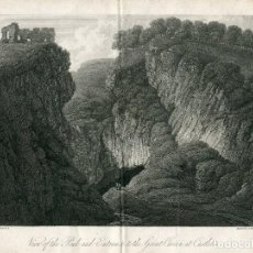 Arte: INGLATERRA. VIEW OF THE PEAK AND ENTRANCE TO THE GREAT CAVER AT CASTLETON, 1817. Lote 67331697