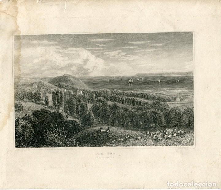 INGLATERRA. DEVONSHIRE. THE TOR, GRABADO POR J.C.ALLEN, 1860 (Arte - Grabados - Modernos siglo XIX)
