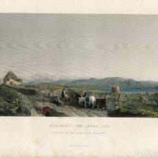Arte: IRLANDA. KILLARNEYTHE LOWER LAKE, GRABADO POR R. WALLIS, 1860. Lote 67338289