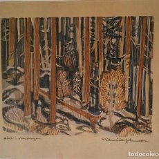 Arte: FANTASTICO GRABADO A COLOR - FRITHJOF TIDEMAND-JOHANNESSEN (1916-1958). Lote 67850673
