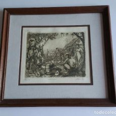Arte: GRABADO - EL AGUADOR - FIRMADO POR EL ARTISTA Y NUMERADO - 6/80 - 31 X 28,5. Lote 67852929