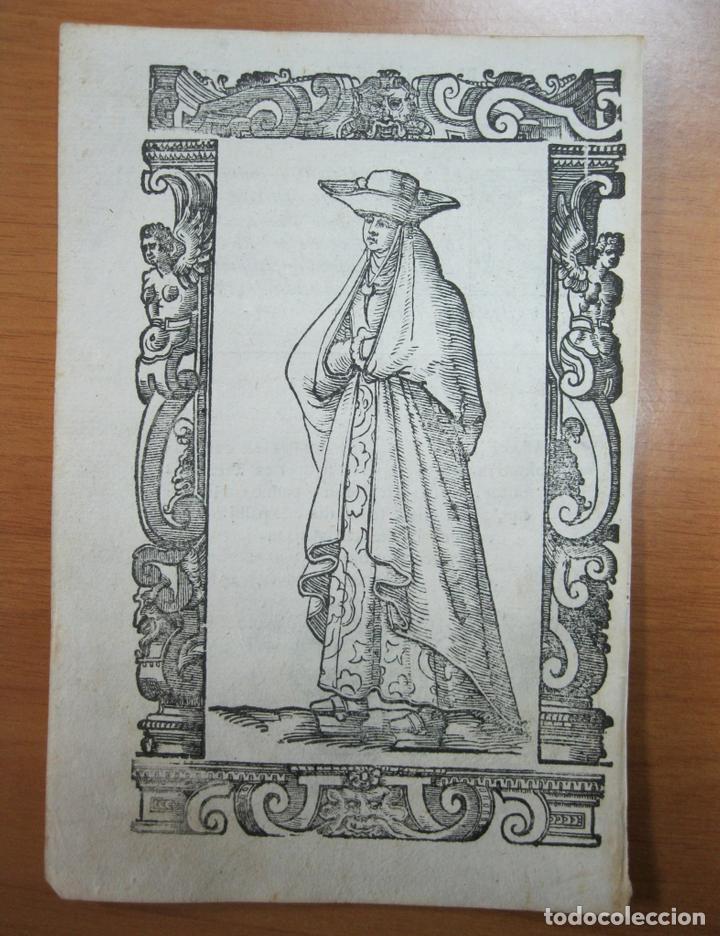 XILOGRAFÍA DE MUJER DE GALICIA (ESPAÑA), 1598. VECELLIO/SESSA (Arte - Grabados - Antiguos hasta el siglo XVIII)