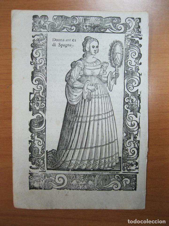 XILOGRAFÍA DE UNA MUJER NOBLE DE ESPAÑA, 1598. VECELLIO/SESSA (Arte - Grabados - Antiguos hasta el siglo XVIII)