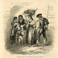 Arte: VESTIMENTA DE LAS MUJERES DE XIXONA Y ALICANTE. AÑO 1854. . Lote 72393643