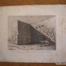 Arte: GRABADO , TORRE Y PARTE DEL MURO ROMANO, PUERTA CICLOPEA TARRAGONA. FORTIFICACIONES ROMANAS 1850'S. Lote 72462587