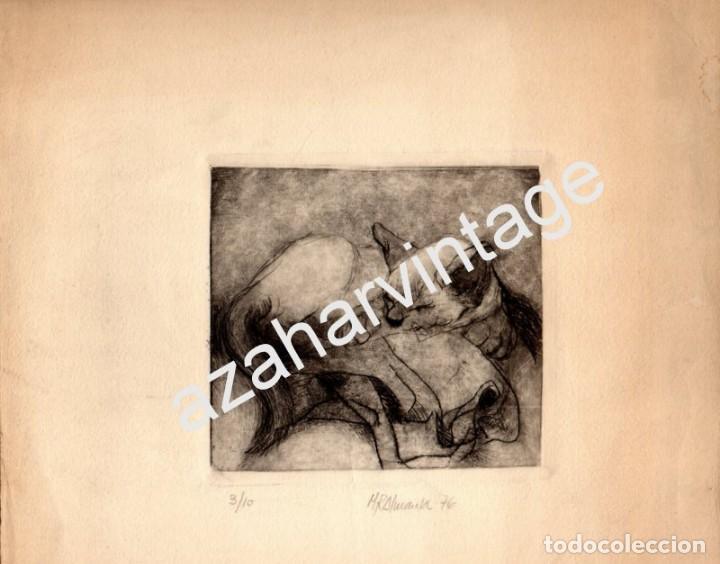MAGNIFICO GRABADO DE UN GATO, FIRMADO M R ALMANSA 1976,LEER MEDIDAS (Arte - Grabados - Contemporáneos siglo XX)