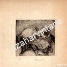 Arte: MAGNIFICO GRABADO DE UN GATO, FIRMADO M R ALMANSA 1976,LEER MEDIDAS. Lote 72758987