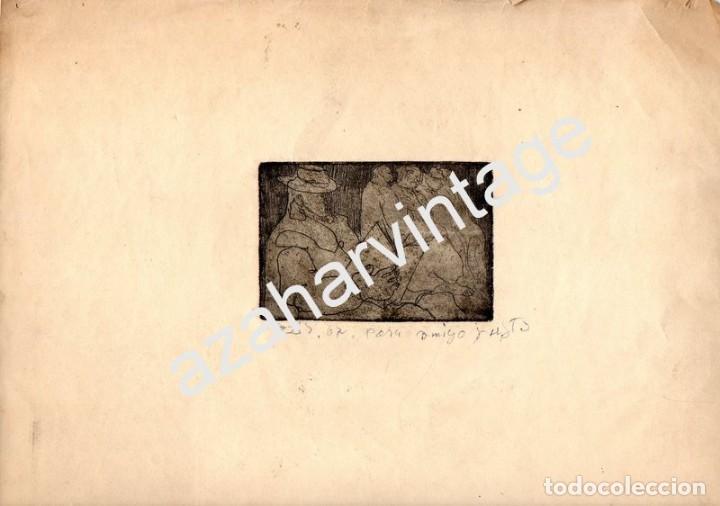 ESPECTACULAR GRABADO - PERSONAJES - AZIZ. MEDIDA MANCHA 95X65 MM. PAPEL: 320X250MM, AZIZ ABOU ALI, D (Arte - Grabados - Contemporáneos siglo XX)