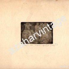 Arte: ESPECTACULAR GRABADO - PERSONAJES - AZIZ. MEDIDA MANCHA 95X65 MM. PAPEL: 320X250MM, AZIZ ABOU ALI, D. Lote 101313890