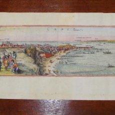 Arte: MAGNIFICO GRABADO DE CÁDIZ. 1572. ILUMINADO A MANO.. Lote 72802823