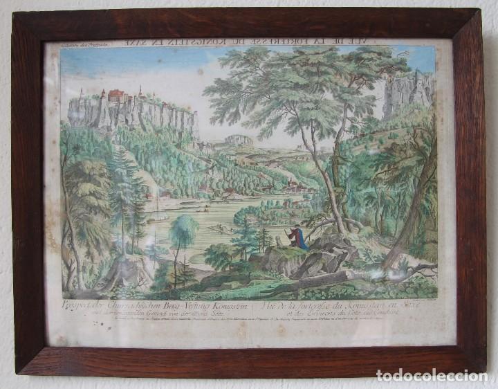 VISTA DE LA FORTERESSE DU KONIGSTEIN EN SAXE: GRABADO SIGLO XVIII COLLECTION DES PROSPECTS AUSBURG (Arte - Grabados - Antiguos hasta el siglo XVIII)