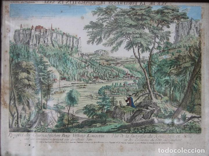 Arte: VISTA DE LA FORTERESSE DU KONIGSTEIN EN SAXE: GRABADO SIGLO XVIII COLLECTION DES PROSPECTS AUSBURG - Foto 2 - 73036863