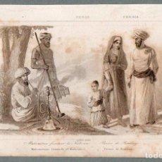 Arte: PERSIA : MAHOMETANO FUMANDO EL KALIOUN - GRABADO LEMAITRE S. XIX. Lote 73527523