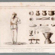 Arte: PERSIA : PARSI HACIENDO LA ORACIÓN DEL KOSTI A ZOROASTRO - GRABADO LEMAITRE S. XIX. Lote 73527655