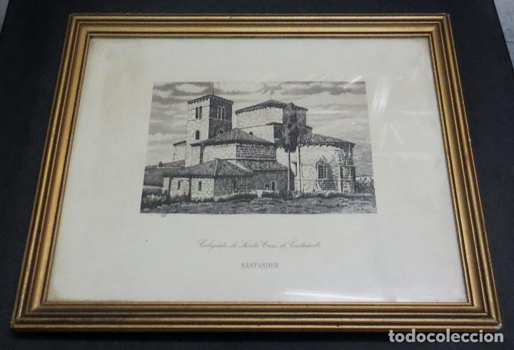 GRABADO COLEGIATA DE SANTA CRUZ DE CASTAÑEDA SANTANDER F. SAN ROMÁN AÑO 1943 ENMARCADO (Arte - Grabados - Contemporáneos siglo XX)