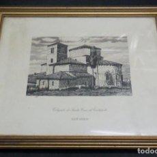 Arte: GRABADO COLEGIATA DE SANTA CRUZ DE CASTAÑEDA SANTANDER F. SAN ROMÁN AÑO 1943 ENMARCADO. Lote 73888035