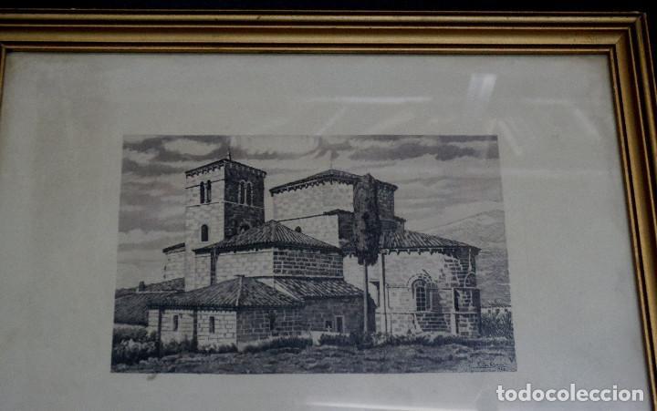 Arte: GRABADO COLEGIATA DE SANTA CRUZ DE CASTAÑEDA SANTANDER F. SAN ROMÁN AÑO 1943 ENMARCADO - Foto 2 - 73888035