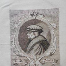 Arte: GRABADO ORIGINAL SIGLO XVII, RETRATO FRANTZ SCHLEICHER , GRABADO JACOB VON SANDRART. Lote 75689931