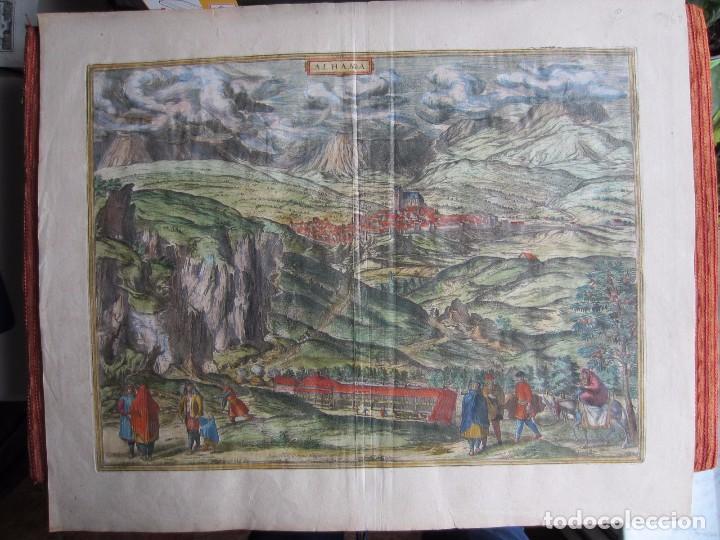 1564-ALHAMA GRANADA. GRABADO ORIGINAL DE BRAUN-HOGENBERG. MUY GRANDE (Arte - Grabados - Antiguos hasta el siglo XVIII)