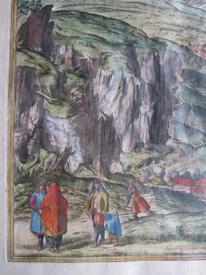 Arte: 1564-ALHAMA GRANADA. GRABADO ORIGINAL DE BRAUN-HOGENBERG. MUY GRANDE - Foto 3 - 75806399