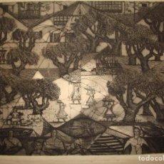 Arte: GRABADO 1954 JULIO PRIETO NESPEREIRA.(ORENSE 1896-PONTEDEUME,CORUÑA 1991) GALICIA.CUBISMO.ÚNICO.. Lote 95564194