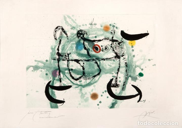 GRABADO DE MIRÓ: L'ECARTELÉE. FIRMADO A LAPIZ. HC. DEDICADO A SU AMIGO HECTOR. 1970 (Arte - Grabados - Contemporáneos siglo XX)