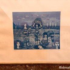Arte: GRABADO PESCADORAS AZUL MAR COLUMNAS PECES FIRMA 94/100 AÑOS 70 55X81CMS. Lote 77341861