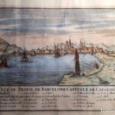 Arte: BARCELONA - MAPA - VISTA DE BARCELONA - NICOLAS DE FER - 1702 - COLOREADO. Lote 77455385