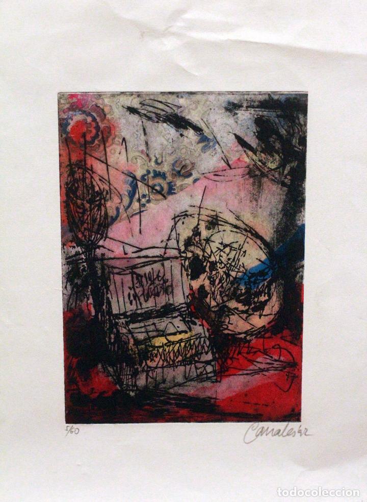CANALES, FIRMADO Y NUMERADO. 5/60. OBRA ABSTRACTA 28X20CM (Arte - Grabados - Contemporáneos siglo XX)