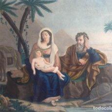 Arte: GRABADO COLOREADO 59 CM CIRCA 1820´S -1830´S * EL REPOSO DE LA SANTA FAMILIA EN EGIPTO. Lote 77559281