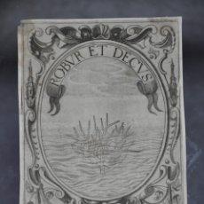 Arte: CRISTOFORO BIANCHI GRABADO IDEA DE UN PRINCIPE POLITICO CRISTIANO SAAVEDRA FAJARDO 1649. Lote 78034345