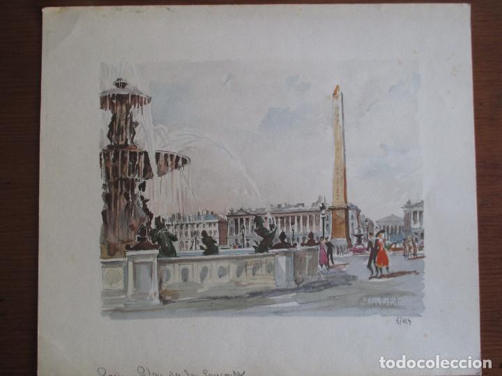 PARIS , PLACE DE LA CONCORDE. GRABADO COLOREADO DE HERBELOT. NUMERADO 5/464 (Arte - Grabados - Contemporáneos siglo XX)