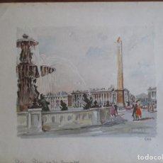 Arte: PARIS , PLACE DE LA CONCORDE. GRABADO COLOREADO DE HERBELOT. NUMERADO 5/464. Lote 79132069