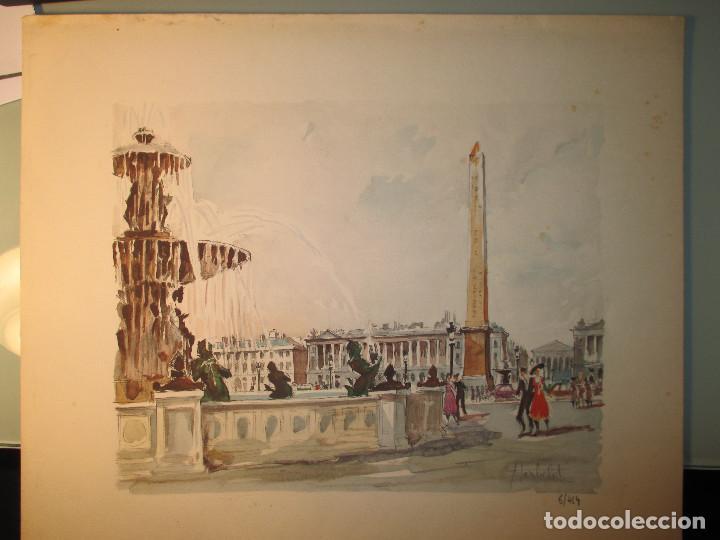 Arte: Paris , Place de la Concorde. Grabado coloreado de Herbelot. Numerado 5/464 - Foto 2 - 79132069