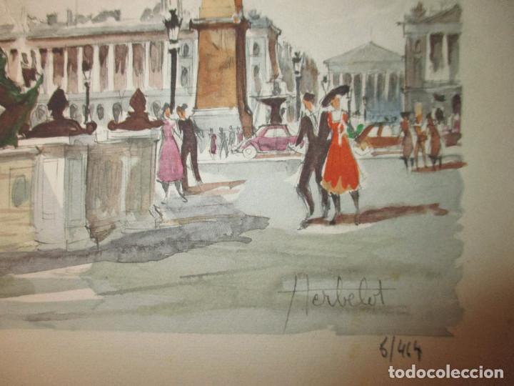 Arte: Paris , Place de la Concorde. Grabado coloreado de Herbelot. Numerado 5/464 - Foto 3 - 79132069