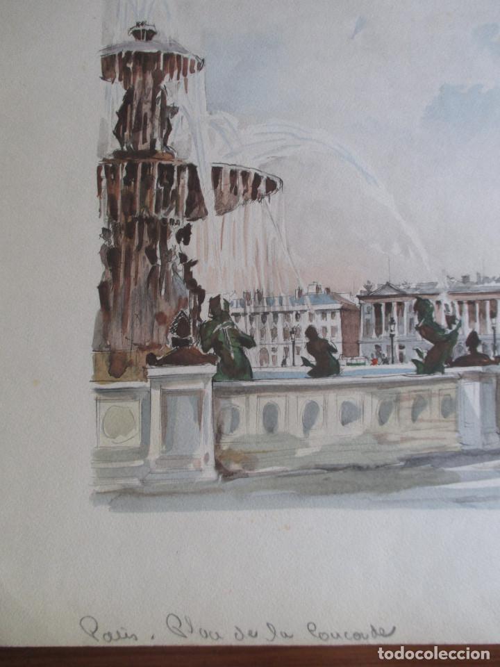 Arte: Paris , Place de la Concorde. Grabado coloreado de Herbelot. Numerado 5/464 - Foto 4 - 79132069