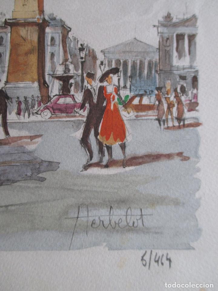Arte: Paris , Place de la Concorde. Grabado coloreado de Herbelot. Numerado 5/464 - Foto 5 - 79132069
