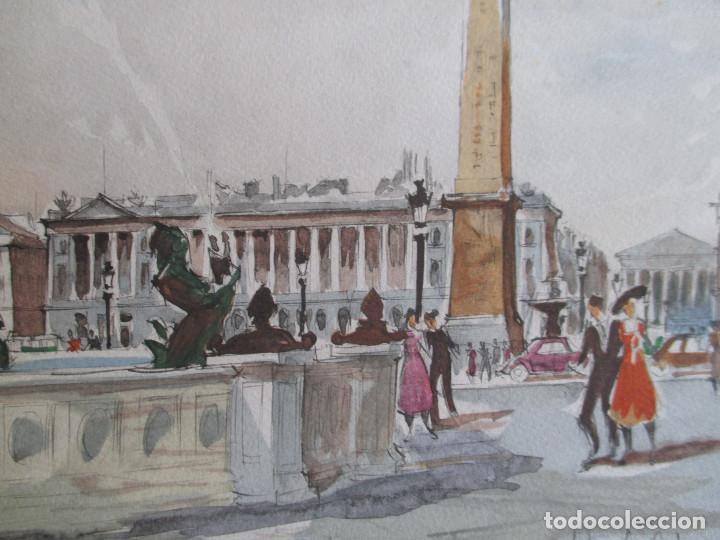 Arte: Paris , Place de la Concorde. Grabado coloreado de Herbelot. Numerado 5/464 - Foto 6 - 79132069