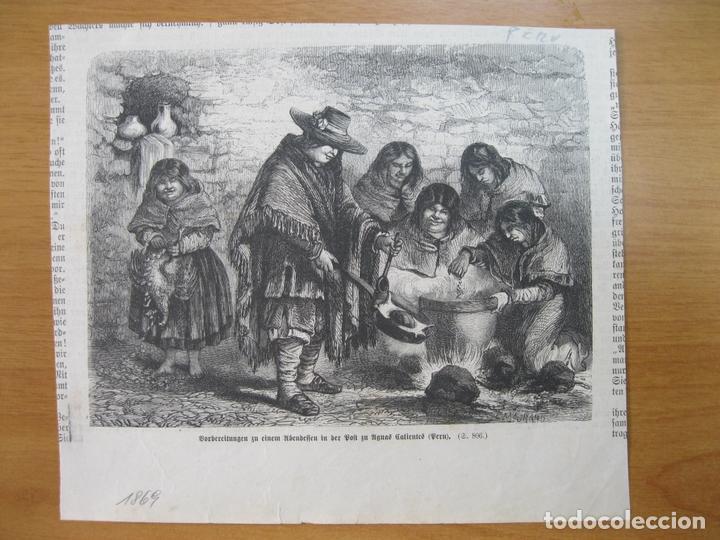 HABITANTES DE AGUAS CALIENTES (PERÚ), 1869 (Arte - Grabados - Modernos siglo XIX)