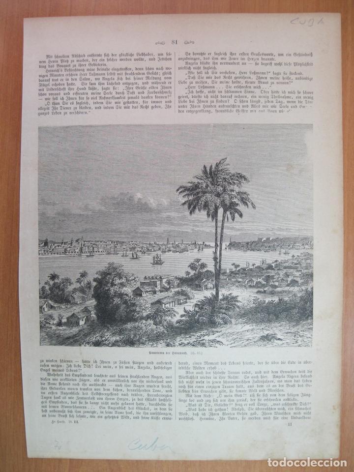 VISTA PANORÁMICA DE LA CIUDAD Y PUERTO DE LA HABANA (CUBA, CARIBE), 1870 (Arte - Grabados - Modernos siglo XIX)