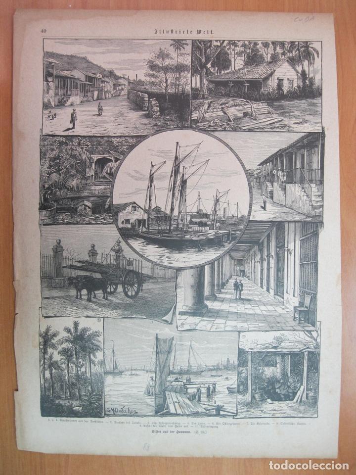 ESCENAS TÍPICAS DE LA CIUDAD Y PUERTO DE LA HABANA (CUBA, MAR CARIBE), 1888. (Arte - Grabados - Modernos siglo XIX)