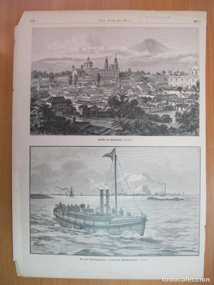 VISTA DE LA CIUDAD DE GUATEMALA Y BARCOS (GUATEMALA, AMÉRICA CENTRAL), 1891 (Arte - Grabados - Modernos siglo XIX)