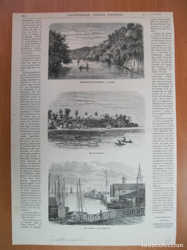 VISTA DEL RÍO DULCE Y PUERTO LIVINGSTON (GUATEMALA) Y PUERTO BELICE (BELICE), 1869 (Arte - Grabados - Modernos siglo XIX)