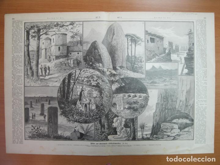 DIVERSOS LUGARES TÍPICOS DE GUATEMALA (AMÉRICA CENTRAL) , 1893 (Arte - Grabados - Modernos siglo XIX)