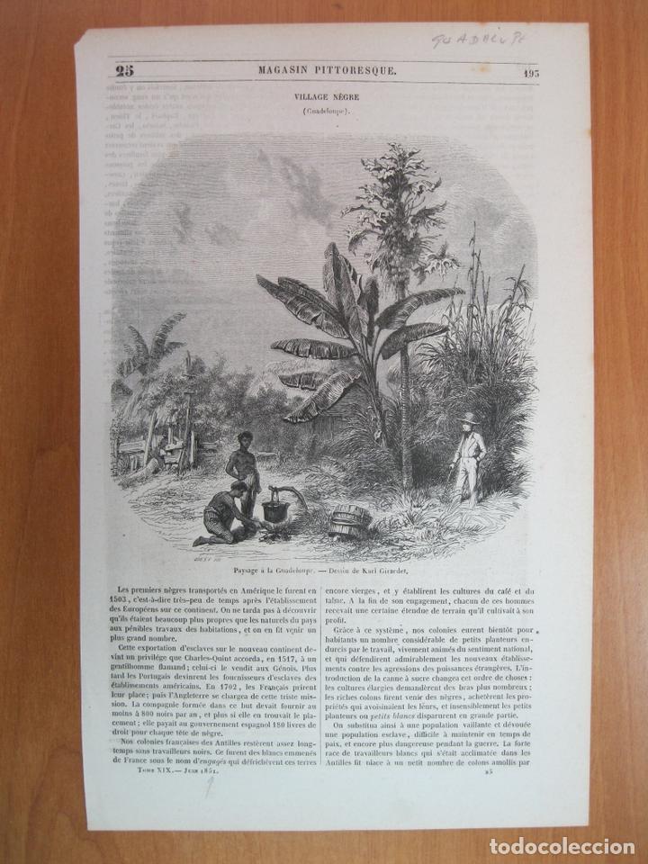 ESCENA DE LA VIDA COTIDIANA INDÍGENA EN LA ISLA DE GUADALUPE (AMÉRICA CENTRAL), 1851. K. GIRARDET (Arte - Grabados - Modernos siglo XIX)