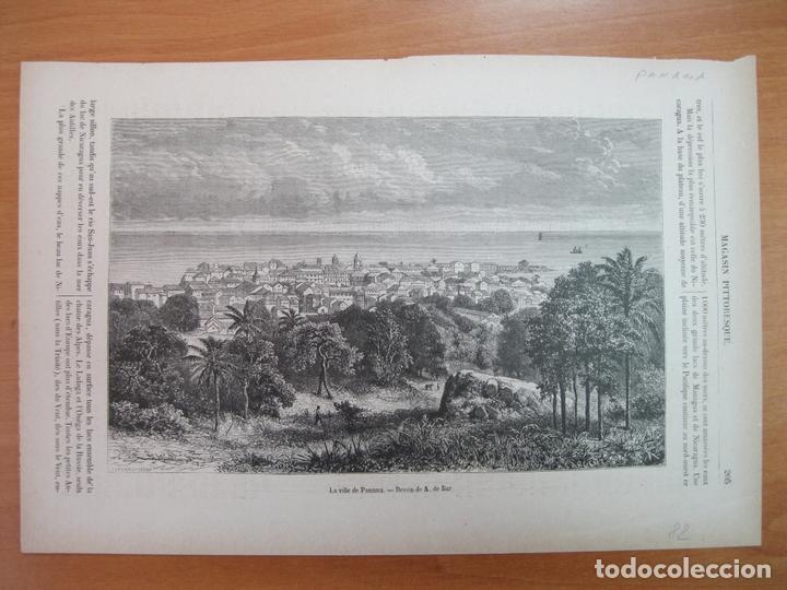 Arte: Vista de la ciudad de Panamá (América central), 1882. A de Bar - Foto 2 - 80132197