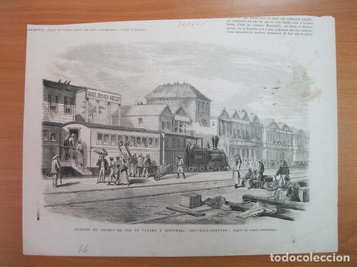 VISTA DE LA ESTACIÓN DE FERROCARRIL EN ASPINWALL- COLON (PANAMÁ), 1866 (Arte - Grabados - Modernos siglo XIX)